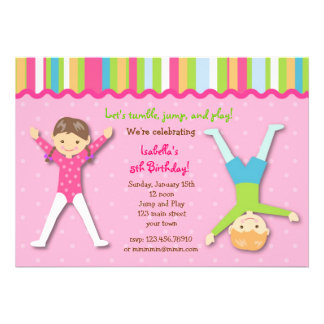 Invitaciones gimnásticas de la fiesta de cumpleaño anuncio personalizado