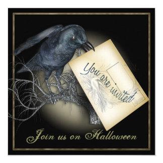 """Invitaciones góticas del fiesta del cuervo negro invitación 5.25"""" x 5.25"""""""