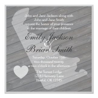 """Invitaciones grises de madera rústicas del boda de invitación 5.25"""" x 5.25"""""""