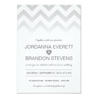 Invitaciones grises del boda de Chevron Ombre Anuncios