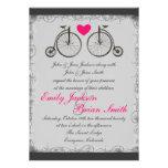 Invitaciones grises del boda del amor de la bicicl invitacion personalizada