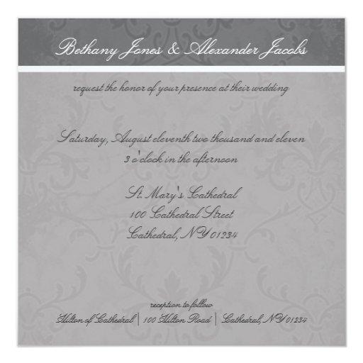 """Invitaciones grises del boda del cordón invitación 5.25"""" x 5.25"""""""