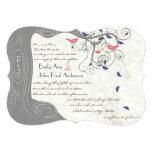 Invitaciones grises del boda del pájaro del amor invitación 12,7 x 17,8 cm