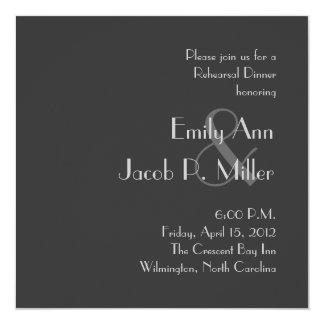 Invitaciones grises modernas de la cena del ensayo comunicado