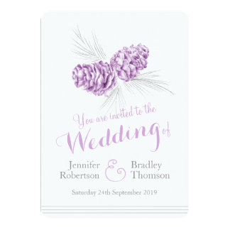 """Invitaciones grises púrpuras del boda del arte de invitación 5"""" x 7"""""""