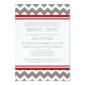 """Invitaciones grises rojas de Mitzvah de la barra Invitación 5"""" X 7"""""""