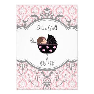 Invitaciones grises rosadas de la ducha de la niña invitación personalizada