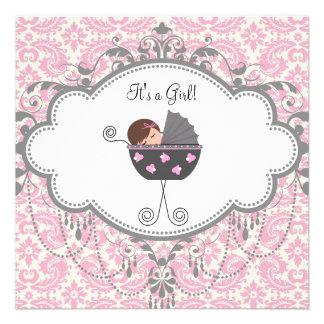Invitaciones grises rosadas de la ducha de la niña invitación