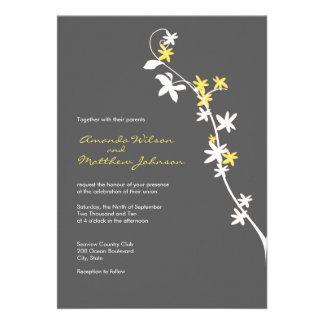 Invitaciones grises y amarillas del boda comunicados personales