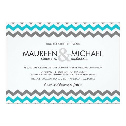 Invitaciones grises y azules del boda del zigzag invitación 12,7 x 17,8 cm