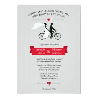 """Invitaciones grises y rojas de la bicicleta en invitación 5"""" x 7"""""""