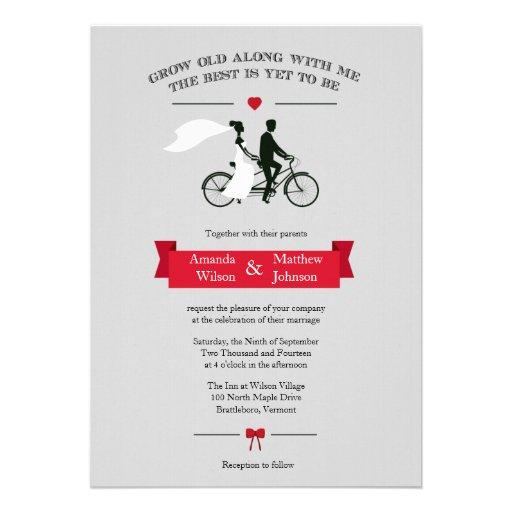 Invitaciones grises y rojas de la bicicleta en tán invitaciones personales