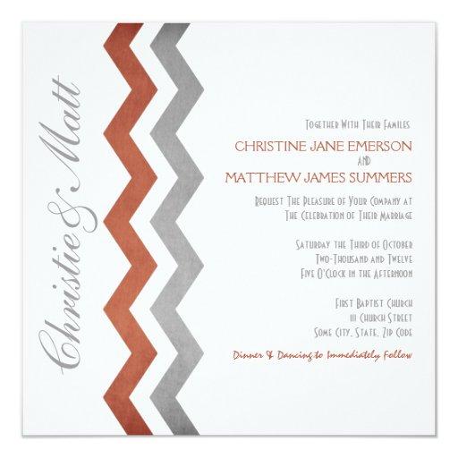 """Invitaciones grises y rojas del boda del zigzag invitación 5.25"""" x 5.25"""""""