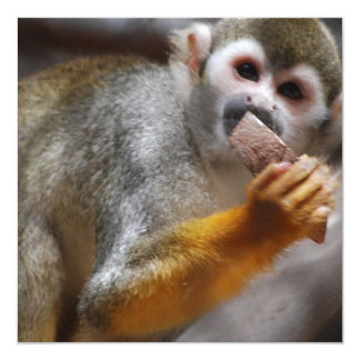 Invitaciones hambrientas del mono de ardilla invitación 13,3 cm x 13,3cm