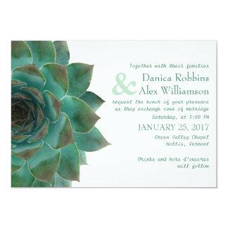 Invitaciones horizontales suculentas verdes del anuncio
