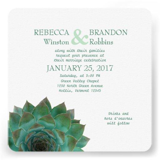 Invitaciones horizontales suculentas verdes del bo comunicado