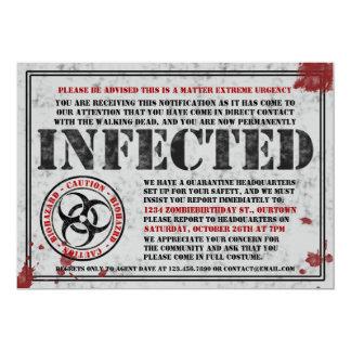 Invitaciones infectadas de la fiesta de cumpleaños invitación 12,7 x 17,8 cm