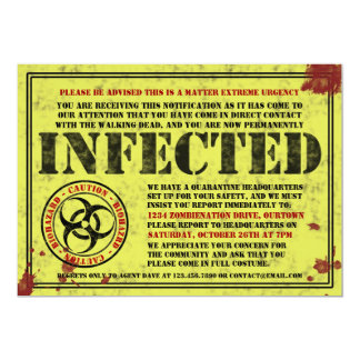 Invitaciones infectadas del fiesta de Halloween Invitación 12,7 X 17,8 Cm
