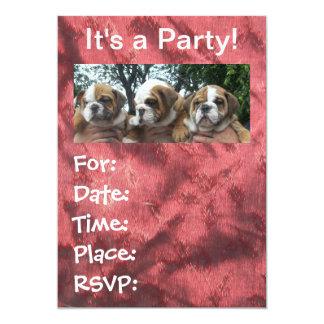 Invitaciones inglesas del fiesta de los perritos invitación 12,7 x 17,8 cm