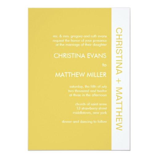 Invitaciones intrépidas del boda del color - oro invitación 12,7 x 17,8 cm