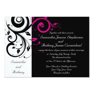 Invitaciones intrépidas negras/blancas/magentas anuncios personalizados