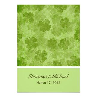 """Invitaciones irlandesas del boda del trébol verde invitación 5"""" x 7"""""""