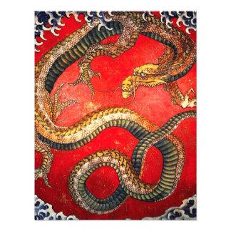 Invitaciones japonesas del dragón del oro de Hokus Anuncio Personalizado