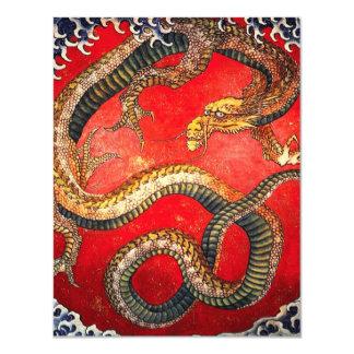 """Invitaciones japonesas del dragón del oro de invitación 4.25"""" x 5.5"""""""