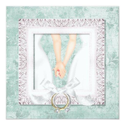 Invitaciones lesbianas de encargo del boda invitación 13,3 cm x 13,3cm