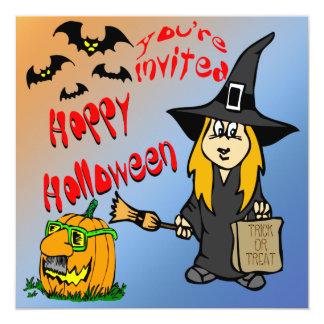 Invitaciones lindas de la bruja de Halloween Invitación 13,3 Cm X 13,3cm