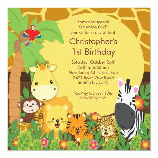 Invitaciones lindas de la fiesta de cumpleaños de invitación 13,3 cm x 13,3cm
