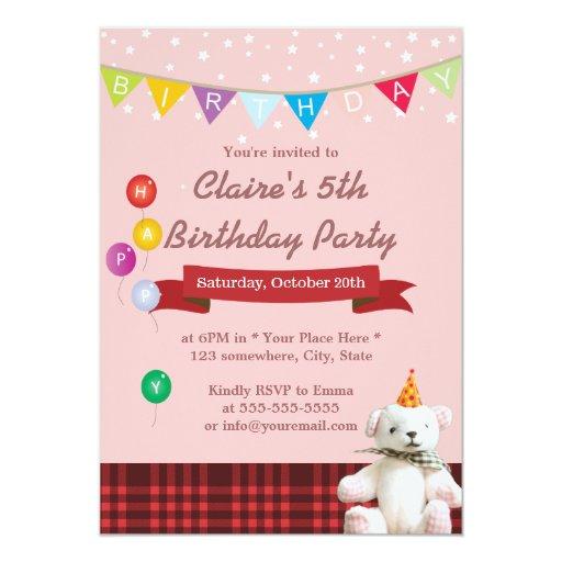 """Invitaciones lindas de la fiesta de cumpleaños del invitación 5"""" x 7"""""""