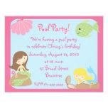 Invitaciones lindas de la fiesta en la piscina de  anuncio
