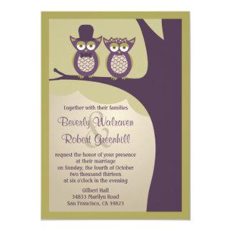 Invitaciones lindas del boda del búho invitación 12,7 x 17,8 cm