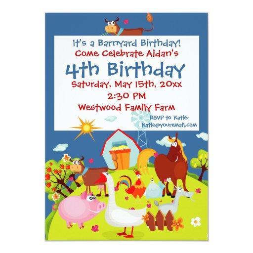 """Invitaciones lindas del cumpleaños de los animales invitación 5"""" x 7"""""""