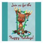 Invitaciones lindas del día de fiesta del reno del anuncios