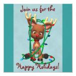 Invitaciones lindas del día de fiesta del reno del invitación 13,3 cm x 13,3cm