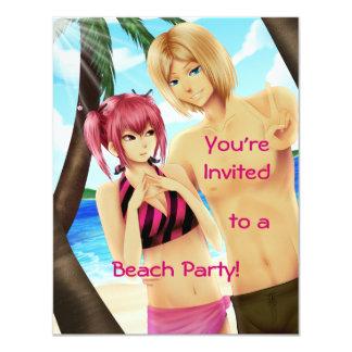"""Invitaciones lindas del fiesta de la playa de los invitación 4.25"""" x 5.5"""""""