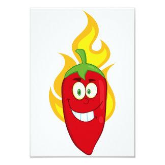"""Invitaciones llameantes de la pimienta de chile invitación 3.5"""" x 5"""""""