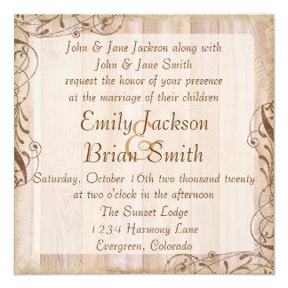 Invitaciones marrones de madera rústicas del boda anuncios