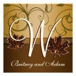 Invitaciones marrones del boda de la caída del oro invitacion personal