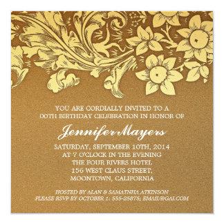 invitaciones marrones elegantes de la fiesta de comunicado
