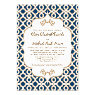 Invitaciones marroquíes del boda de los azules mar anuncio personalizado