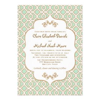 Invitaciones marroquíes del boda del oro de verde  invitaciones personales