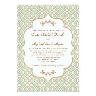 Invitaciones marroquíes del boda del oro de verde invitación 12,7 x 17,8 cm