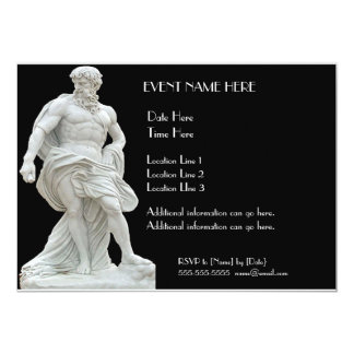 """Invitaciones masculinas de la estatua invitación 5"""" x 7"""""""