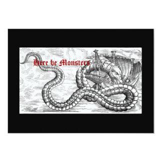 """Invitaciones medievales de la nave y del dragón invitación 5"""" x 7"""""""