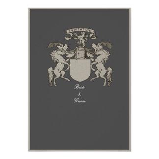 """Invitaciones medievales del boda del escudo de invitación 5"""" x 7"""""""