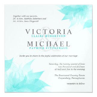 """Invitaciones metálicas florales blancas azules del invitación 5.25"""" x 5.25"""""""