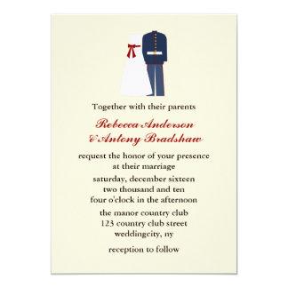 Invitaciones militares del boda invitación 12,7 x 17,8 cm